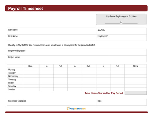 Sample Payroll Timesheet  KakTakTk