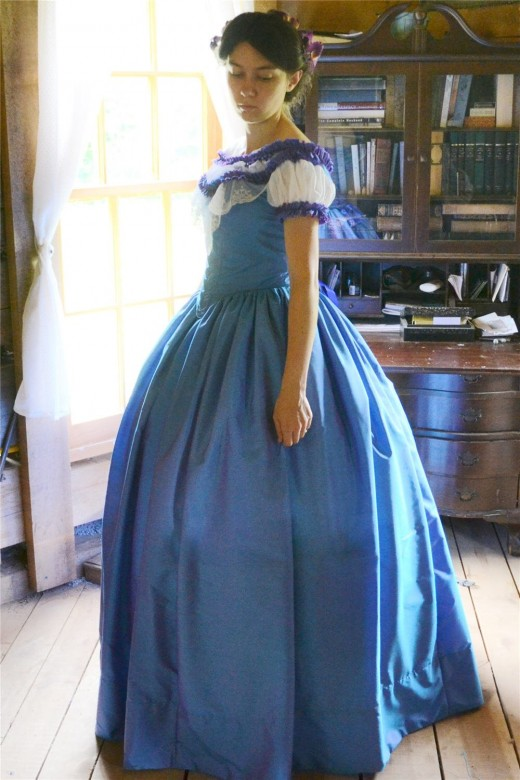 The Story of a Seamstress: Blue Silk Victorian Ball Gown
