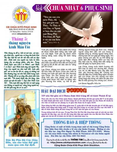BẢN TIN CỘNG ĐOÀN CHÚA NHẬT TUẦN VI PHỤC SINH  17-05-2020