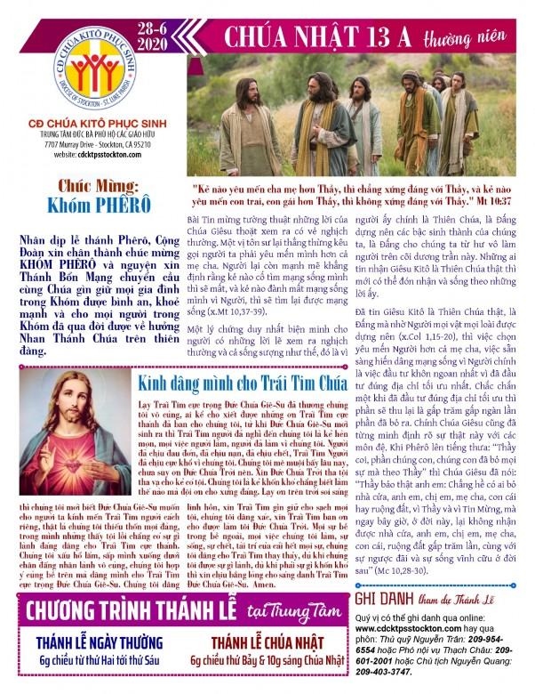 BẢN TIN CỘNG ĐOÀN CHÚA NHẬT TUẦN XIII THƯỜNG NIÊN NĂM A 28-06-2020