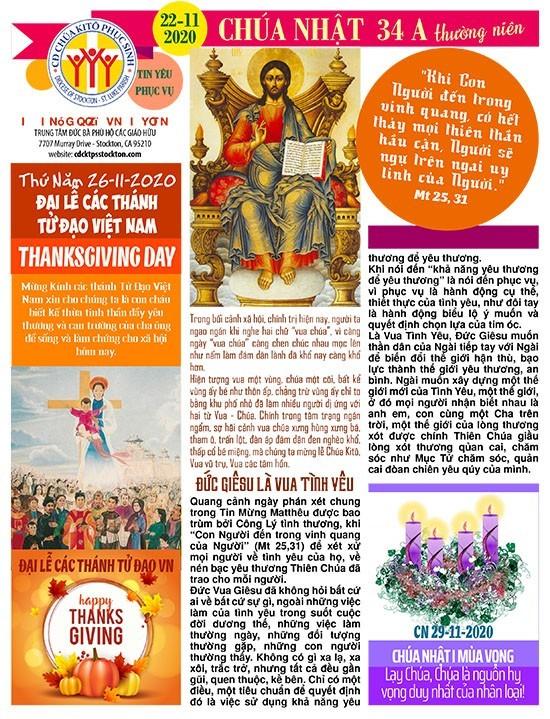 BẢN TIN CỘNG ĐOÀN CHÚA NHẬT TUẦN XXXIV THƯỜNG NIÊN NĂM A 22-11-2020