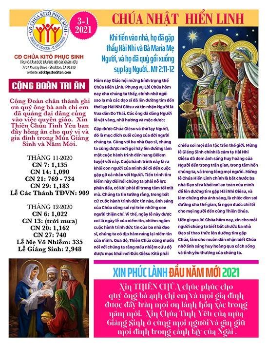 BẢN TIN CỘNG ĐOÀN CHÚA NHẬT MÙA GIÁNG SINH NĂM B LỄ HIỂN LINH 03-1-2021