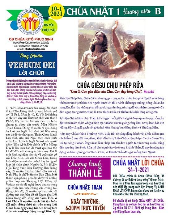 CỘNG ĐOÀN CHÚA NHẬT I MÙA THƯỜNG NIÊN NĂM B – LỄ CHÚA GIÊSU CHỊU PHÉP RỬA 10-01-2021