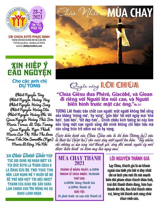 BẢN TIN CỘNG ĐOÀN CHÚA NHẬT II MÙA CHAY NĂM B – 28-02-2021