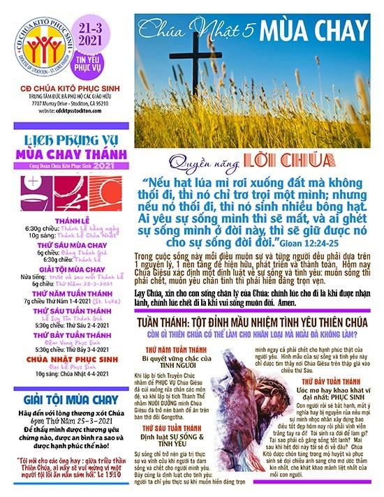 BẢN TIN CỘNG ĐOÀN CHÚA NHẬT V MÙA CHAY NĂM B – 21-03-2021