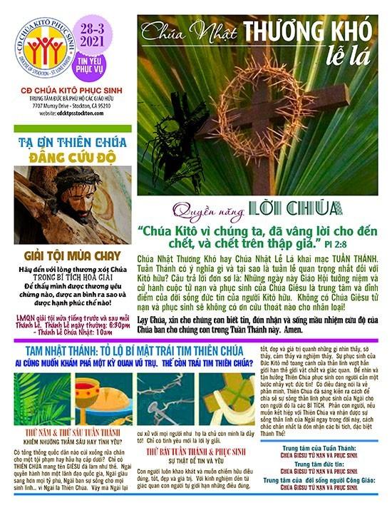 BẢN TIN CỘNG ĐOÀN CHÚA NHẬT MÙA CHAY NĂM B – LỄ LÁ  28-03-2021