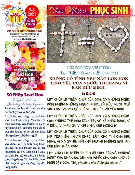 BẢN TIN CỘNG ĐOÀN CHÚA NHẬT VI MÙA PHỤC SINH NĂM B – 9-05-2021