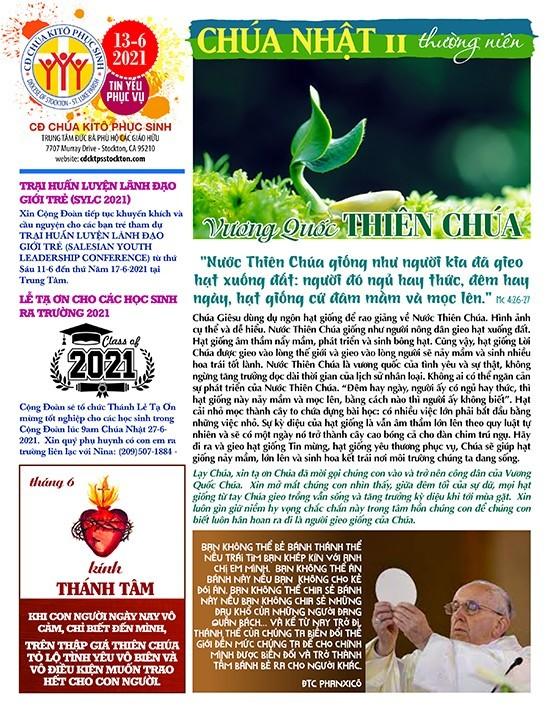 BẢN TIN CỘNG ĐOÀN CHÚA NHẬT XI MÙA THƯỜNG NIÊN NĂM B –  13-06-2021