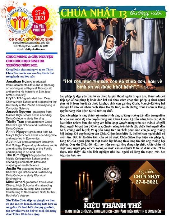 BẢN TIN CỘNG ĐOÀN CHÚA NHẬT XIII MÙA THƯỜNG NIÊN NĂM B – 27-06-2021