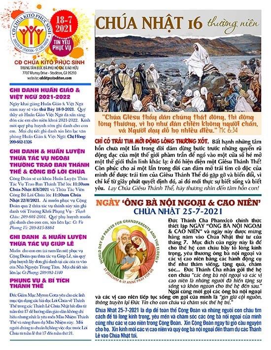 BẢN TIN CỘNG ĐOÀN CHÚA NHẬT XVI MÙA THƯỜNG NIÊN NĂM B – 18-07-2021