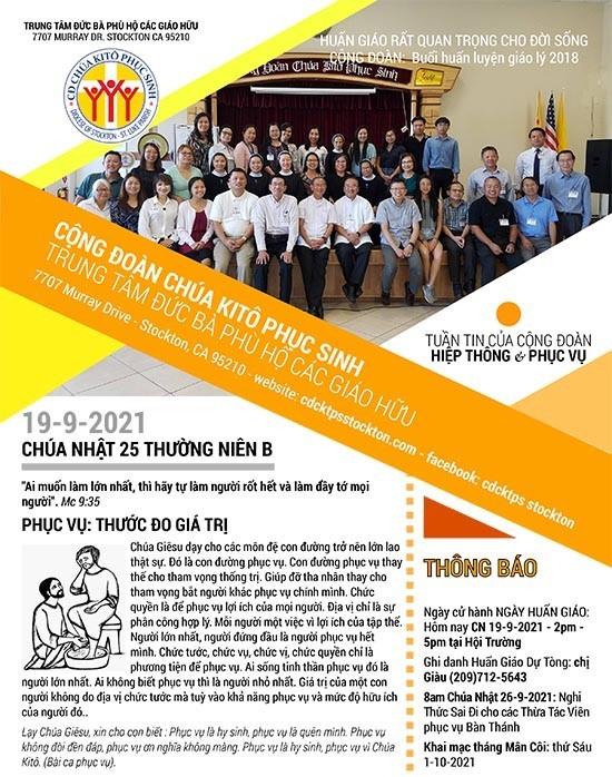 BẢN TIN CỘNG ĐOÀN CHÚA NHẬT XXV MÙA THƯỜNG NIÊN NĂM B 19-09-2021