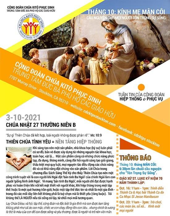 BẢN TIN CỘNG ĐOÀN CHÚA NHẬT XXVIII MÙA THƯỜNG NIÊN NĂM B 10-10-2021
